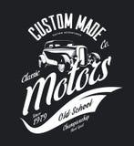 Vintage custom hot rod motors vector tee-shirt logo isolated on dark background. Premium quality old sport car logotype t-shirt emblem illustration. Street Royalty Free Stock Photos