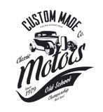 Vintage custom hot rod motors vector tee-shirt logo isolated on white background. Premium quality old sport car logotype t-shirt emblem illustration. Street Royalty Free Stock Photography