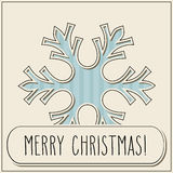 Vintage cut snowflake and Merry Christmas Royalty Free Stock Images