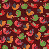 Vintage Cute Birds Vector Seamless Pattern with Colorful Vector Birds Stock Photography