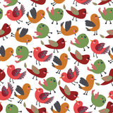 Vintage Cute Birds Vector Seamless Pattern with Colorful Vector Birds Stock Image