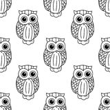 Vintage cute black owls seamless pattern Royalty Free Stock Images