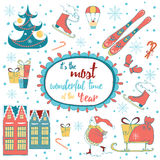 Vintage cute Christmas card with text and childrish elements. Royalty Free Stock Photography