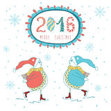 Vintage cute Christmas card with text and childrish snowmen Royalty Free Stock Photography