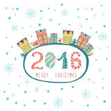 Vintage cute Christmas card with text and city landscape. Stock Photography