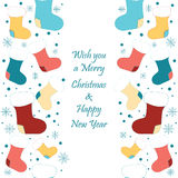 Vintage cute Christmas seamless border with Santa Royalty Free Stock Images