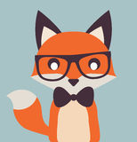 Vintage Cute Fox Illustration Flat Vector Stock vector illustration