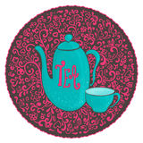 Vintage cute tea party. Vector illustration Royalty Free Stock Photo