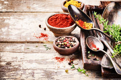 Vintage cutlery and colorful mix of spices Stock Photo