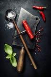 Vintage cutlery and fresh ingredients Stock Image