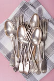 Vintage cutlery on a kitchen towel Royalty Free Stock Photos