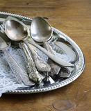 Vintage cutlery with old-fashioned napkin Stock Image