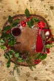 Festive place setting for christmas dinner stock photos