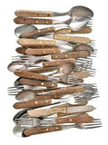 Vintage cutlery. Retro kitchen utensils knife, fork and spoon Stock Image