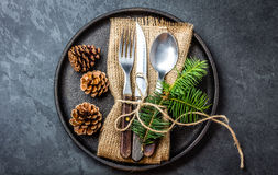 Free Vintage Cutlery Set, Christmas Decoration On Iron Plate, Slate Background Royalty Free Stock Images - 81468609