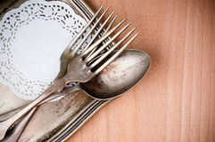 Vintage cutlery tray and old wooden board Stock Photography