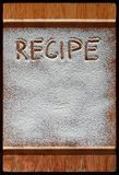 Vintage cutting board covered with flour. space for recipe menu text on old wooden background. Vintage cutting board covered with flour. space for recipe menu stock photography