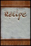 Vintage cutting board covered with flour. space for recipe menu text on old wooden background Stock Photography