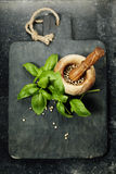 Vintage cutting board and fresh ingredients Stock Image