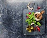 Vintage cutting board and fresh ingredients Stock Photos