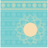 Vintage cyan and cream Indian henna banner Stock Photography