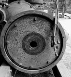 Vintage 6-Cylinder Gas Engine. Black and white image of vintage Blue Streak 6-cylinder gas snowblower engine used to clear snow in the passes of the Oregon Stock Photography