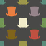 Vintage cylinder hat seamless pattern Royalty Free Stock Image