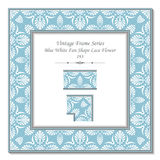 Vintage 3D frame 193 Blue White Fan Shape Lace Flower Royalty Free Stock Images