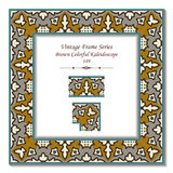 Vintage 3D frame 149 Brown Colorful Kaleidoscope Royalty Free Stock Image