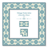 Vintage 3D frame 441 China Blue Flower. Antique patterns 3D frame can be used for web page, greeting card decoration Royalty Free Stock Photography