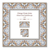 Vintage 3D frame 154 Flower Oval Kaleidoscope Royalty Free Stock Photography