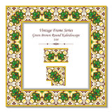 Vintage 3D frame 144 Green Brown Round Kaleidoscope Royalty Free Stock Photography