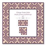 Vintage 3D frame 065 Purple Geometry Kaleidoscope Stock Photography