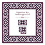 Vintage 3D frame 200 Purple Round Cross Check Stock Images