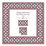 Vintage 3D frame 158 Red White Cross Circle Royalty Free Stock Image