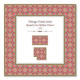 Vintage 3D frame 514 Round Cross Ribbon Flower Stock Photos