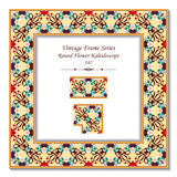 Vintage 3D frame 147 Round Flower Kaleidoscope. Antique retro abstract seamless pattern frame and background can be used for wallpaper, web page background Royalty Free Stock Photos