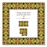 Vintage 3D frame 446 Spiral Butterfly Flower. Antique patterns 3D frame can be used for web page, greeting card decoration Stock Photo