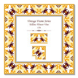 Vintage 3D frame 126 Yellow Flower Vine Stock Photo