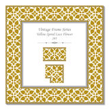 Vintage 3D frame 295 Yellow Spiral Lace Flower Royalty Free Stock Photo