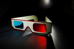 Vintage 3D paper glasses onb black background Stock Image