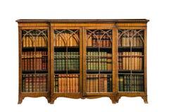 Vintage da antiguidade do armário da biblioteca com as portas de vidro isoladas no wh Foto de Stock Royalty Free
