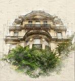 Vintage da arquitetura de Paris ilustração do vetor