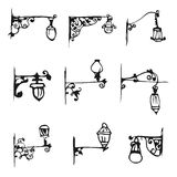 Vintage da lâmpada de rua antiga da tração da mão Fotos de Stock Royalty Free