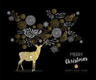 Vintage da natureza dos cervos do ouro do ano novo do Feliz Natal Imagem de Stock Royalty Free