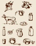 Vintage dairy products and cow Royalty Free Stock Photography