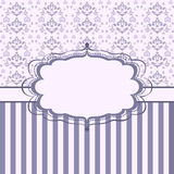 Vintage damask card. Vintage floral card. Damask background with stripes royalty free illustration