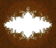 Vintage damask floral banner 2. Floral damask pattern banner in brown wooden   texture background with a space for your text Royalty Free Stock Photography