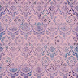 Vintage Damask Purple Pink background pattern. Purple damask pattern on pink textured background, repeatable and seamless stock illustration