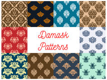 Vintage damask tracery seamless pattern background. Retro damask or damasque seamless pattern background. Vintage floral ornament or flower foliage tile, plant Stock Photography
